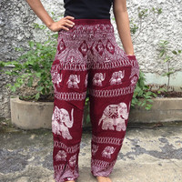 Trousers Yoga Pants Elephants Print Hippie Baggy Boho Hobo Fashion Style Clothing Rayon Gypsy Tribal chic Clothes Exercise For Beach Red