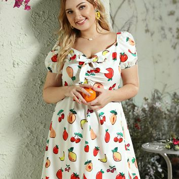 Plus Tie Front Random Fruit Print Dress