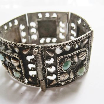 Vintage Egyptian Panel Bracelet made with 800 Silver and Turquoise