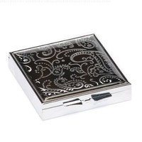 Black Paisley Large Square Pill Box
