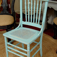 Reclaimed Vintage French Country Covington Blue Shabby Cottage Paint Dining Room Chair Chairs - Set 4  (call for a ship quote)