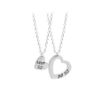 SUTEYI 2Pcs /Set Family Member Love Necklace Jewelry Matching Necklaces Set Heart Big Sis Little Sis Baby Sister For Women Gifts