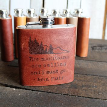 *Customizable* Mountains are Calling Leather Hip Flask