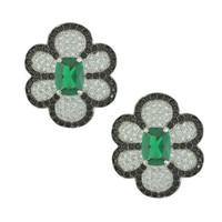 Kenneth Jay Lane CZ Emerald Flower Earrings | SOPHIESCLOSET.COM | Designer Jewelry & Accessories