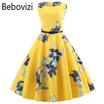 Yellow Women Dress New Casual Floral Elegant Retro Vintage 50s 60s Robe Femme Rockabilly Swing Pinup Vestidos Party Dresses