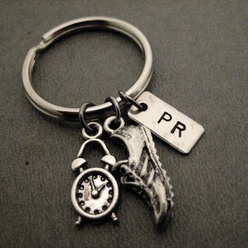 Time to Run a PR Key Chain / Bag Tag - Handmade Nickel Silver PR Charm, Pewter Shoe and Clock Charm on Ball Chain or Key Ring - Time Goal