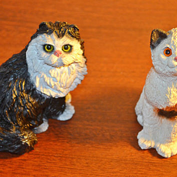 Cat Figurines, Stone Critters, Calico, Tuxedo