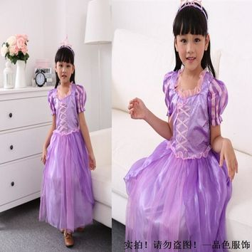 2017 Fairy Tales Princess Comic Prototype Halloween Serve Violet Children Fairy Dress 0266