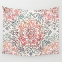 Autumn Spice Mandala in Coral, Cream and Rose Wall Tapestry by Micklyn | Society6
