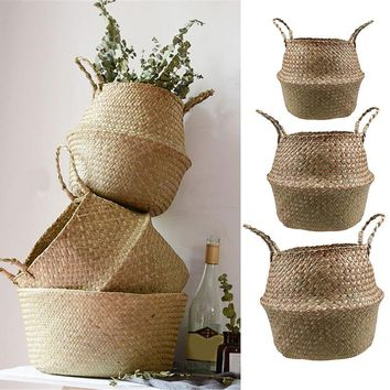 1 Set Seagrass Foldable Wickerwork Basket Rattan Hanging Flower Pot Planter Woven Dirty Laundry Hamper Storage Basket Home Decor