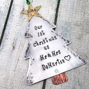 Our First Christmas Ornament - Couples Christmas Ornament - Hand Stamped Personalized Ornament First Christmas as Mr and Mrs (801)