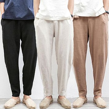 Chinese Traditional Male Beach Flax Hemp Loose Drawstring Trousers Summer Jogger Linen Pants Men Plus Size 5XL Black Beige Cream