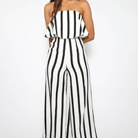 Beetle Juice Jumpsuit - White Stripe