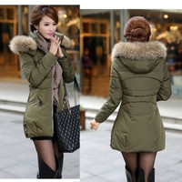 Army Green Black Red 3 Colors Fashion Women Winter Warm Thick Hoodie Faux Fur Collar Slim Zip Down Jacket Long Coat Overcoat  Parka = 1828297476