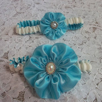 Tiffany Blue and Ivory Wedding Garter Set with lovely five petal Rose, Bridal Garter, Prom Garter