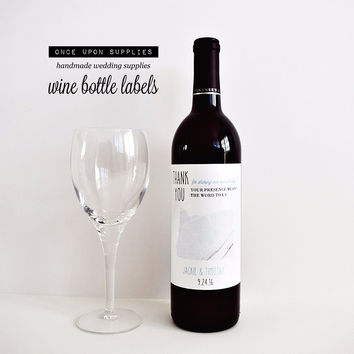 Personalized State Map Wine Bottle Labels. Marble Design