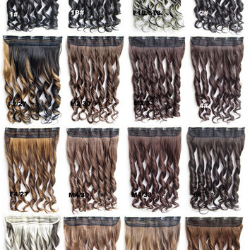 5 clips clip in wig synthetic hair extension hairpieces wavy slice hairpiece GS-888, 60cm,130grams,100 colors available 1pc