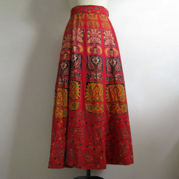 Vintage 1980s Wrap Skirt Red Cotton Floral Batik Block Print Maxi Skirt Medium