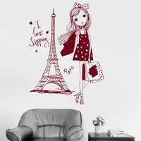 Vinyl Wall Decal Pretty Teen Girl Paris Woman France Shopping Stickers Unique Gift (ig3040)