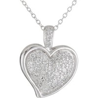 """Sterling Silver Cubic Zirconia Pave Heart Pendant, 18"""""""