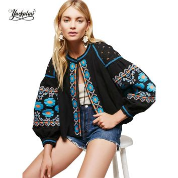 YACKALASI Women Tops O-Neck Embroidered Blouses Bohemian Style Tunic Tassel Loose Sleeve Boho Popular Vestidos