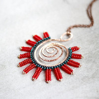 Tribal Necklace Tribal Fusion Gypsy Ethnic Copper Hippie Boho Pendant Necklace Red Turquoise Hand-Forged Copper Hoop Framed Red Necklace