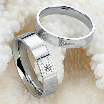 Fashion titanium stainless steel lovers ring crystals promise Key and Lock couple rings = 5618300417