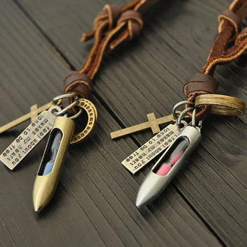 Vintage Bullet Shape Leather Pendant Hourglass Necklace