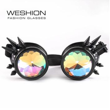 Kaleidoscope Glasses Men Oculos Steampunk Sunglasses Women Clip On Snowshine EDM Party Hippie Gothic Goggles Round 2018 Eyeglass
