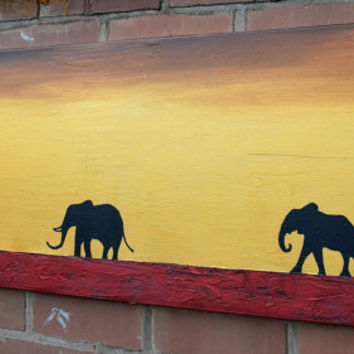 elephant animal original painting mother and baby african art landscape paintings on canvas wall original office home decor 48 x 16 ""