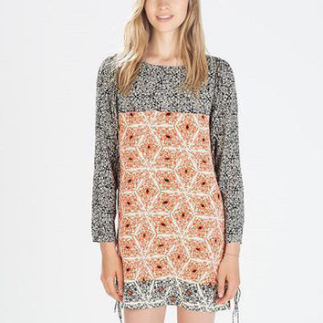 Printed Long Sleeve Fringed Shift Mini Dress