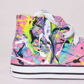 DCCK1IN toddler pink high top splatter painted converse sneakers toddler size 9 neon sign col