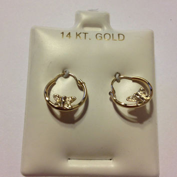 14K Butterfly Hoops Earrings NWT New Gold Butterflies 14KT Studs Vintage New Jewelry Birthday Christmas Xmas Holiday Gift