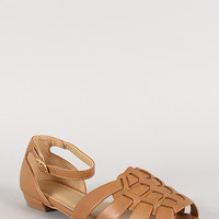 City Classified Viveka-S Leatherette Buckle Woven Peep Toe Flat Sandal