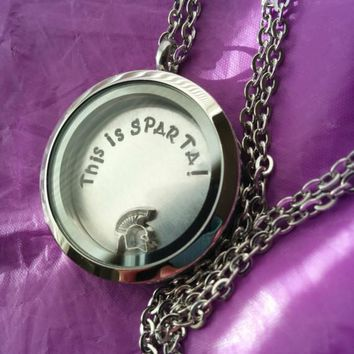 Sale - This is Sparta! Locket Glass Floating Memory locket with Spartan Head charm Michigan State Spartans Football Sparta Necklace