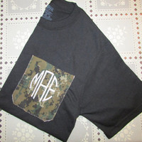 Long Sleeve USMC Digital Woodland Camo Pocket Tee