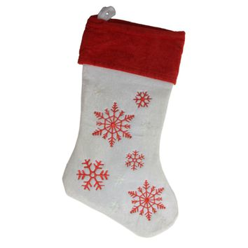 "19"" Red and White Velvet Embroidered Snowflake Christmas Stocking"