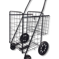 Wellmax WM990017S Folding Shopping Cart with Double Basket and Swivel Wheels ...