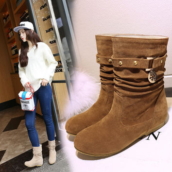 On Sale Hot Deal Stylish Winter Plus Size Flat Boots [6366199172]