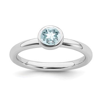 Sterling Silver Stackable Expressions 5mm Round Low Set Aquamarine Ring