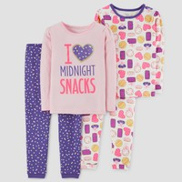Toddler Girls' 4pc Midnight Snacks Long Sleeve Cotton Pajama Set - Just One You™ Made by Carter's® Pink