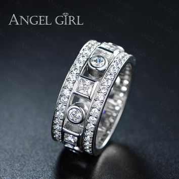 Angel Girl 2016 Simple Geometric Design Paved CZ Engagement Wedd 8ff12b52b