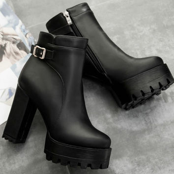 fashion 2017 women boots Square heel shoes woman zipper Ankle Spring Autumn Boots sexy platform high heels ladies boots size 43