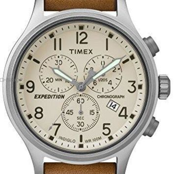 Timex TW4B09200 Men's Expedition Indiglo Chronograph Brown Leather Band Watch