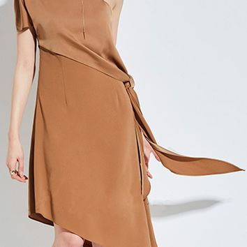 Khaki One Shoulder Spaghetti Strap Knot Side Asymmetric Hem Dress