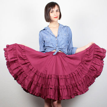 Vintage 1970s Skirt Burgundy Pink Square Dancing Skirt Ruffle Tiered Circle Skirt 70s Skirt Fit and Flare Full Sweep Skirt XS S Small M