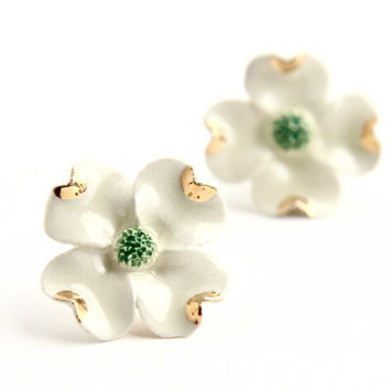 Vintage White Enamel Flower Pierced Earrings -  Dogwood Floral Costume Jewelry Accessories / Spring Whites