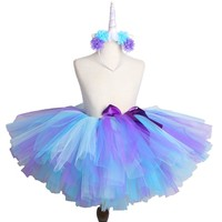Unicorn Tutu Skirt with Headband Fluffy Children Tulle Skirt Girls Kids Birthday Party Tutus Blue Purple Mermai Tutu Baby Skirt