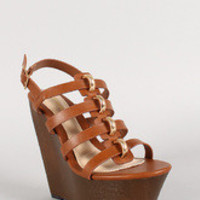 Bamboo Strappy Metal Ring Faux Wood Platform Wedge
