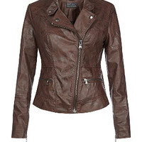 Chocolate Brown Leather-Look Zip Pocket Biker Jacket